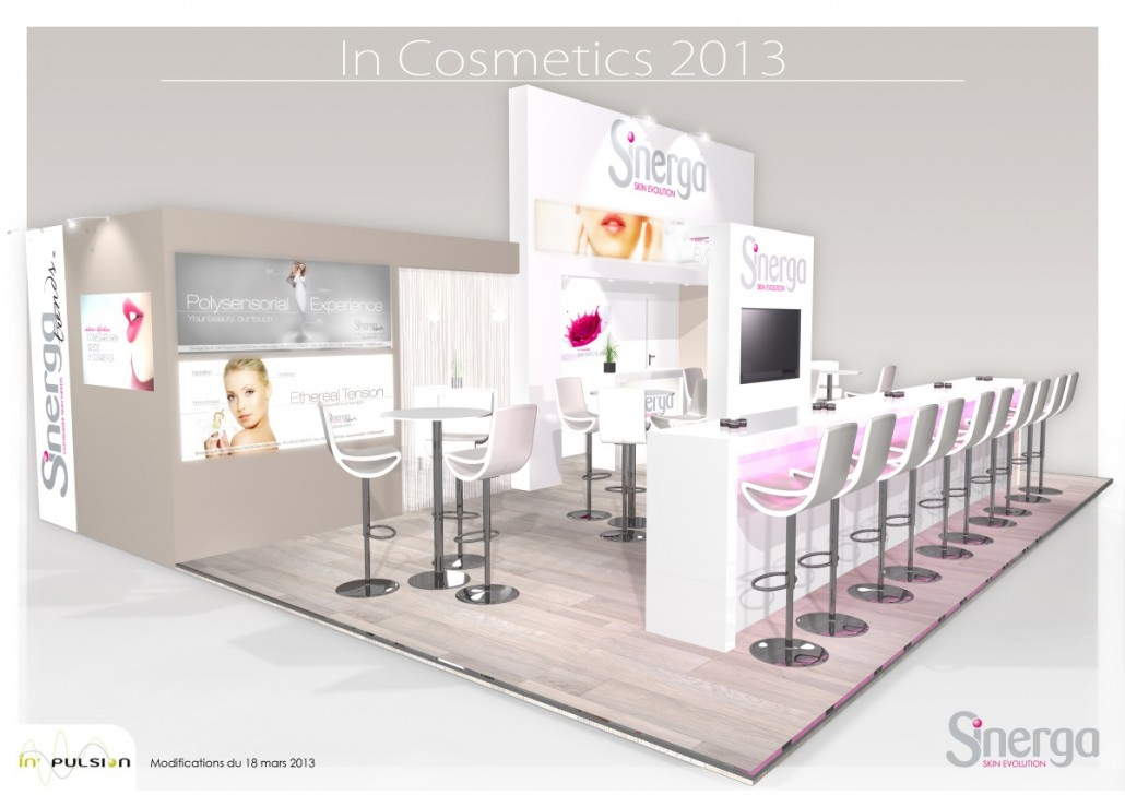 Stand cosmetique in 39 cosmetics pour sinerga in 39 pulsion for Stand salon